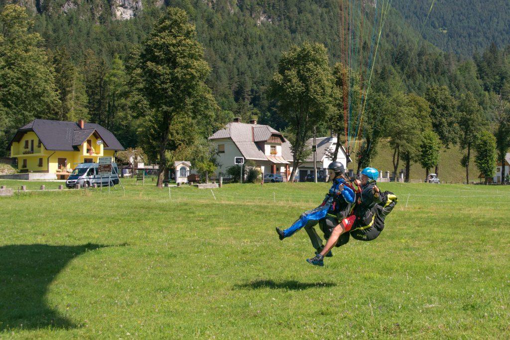Paragliding Mangart landing