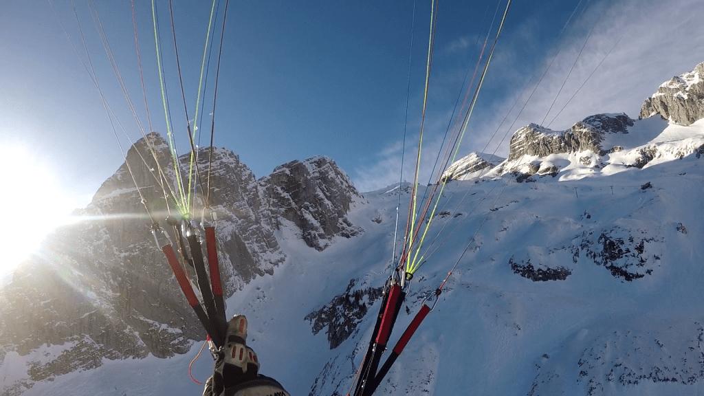 Paragliding Kanin snow sun